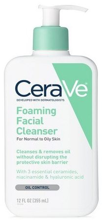 How often should you wash your face - Bottle of cerave foaming cleanser.