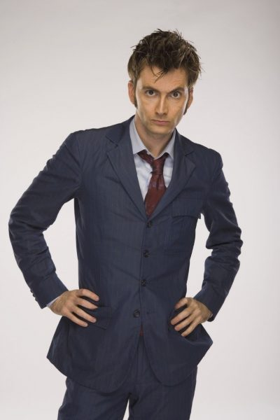The 10th Doctor's blue suit. David Tennant with his hands on his hip.