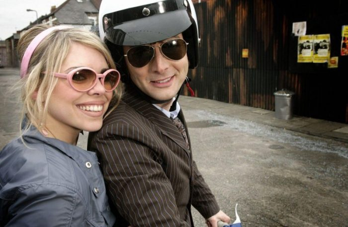 The 10th Doctor and Rose on a motorcycle in the Idiot's Lantern.