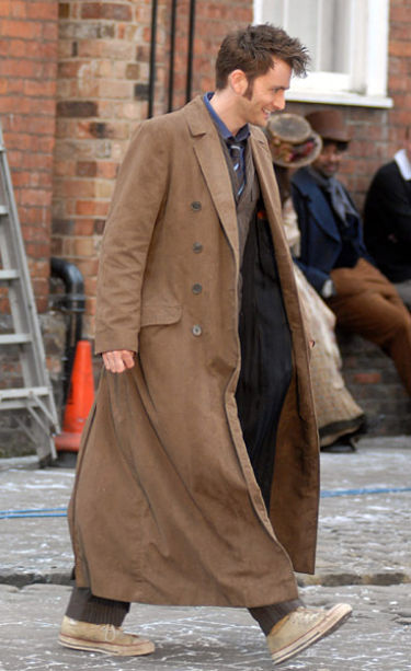 The 10th Doctor's overcoat. David Tennant walking on set.