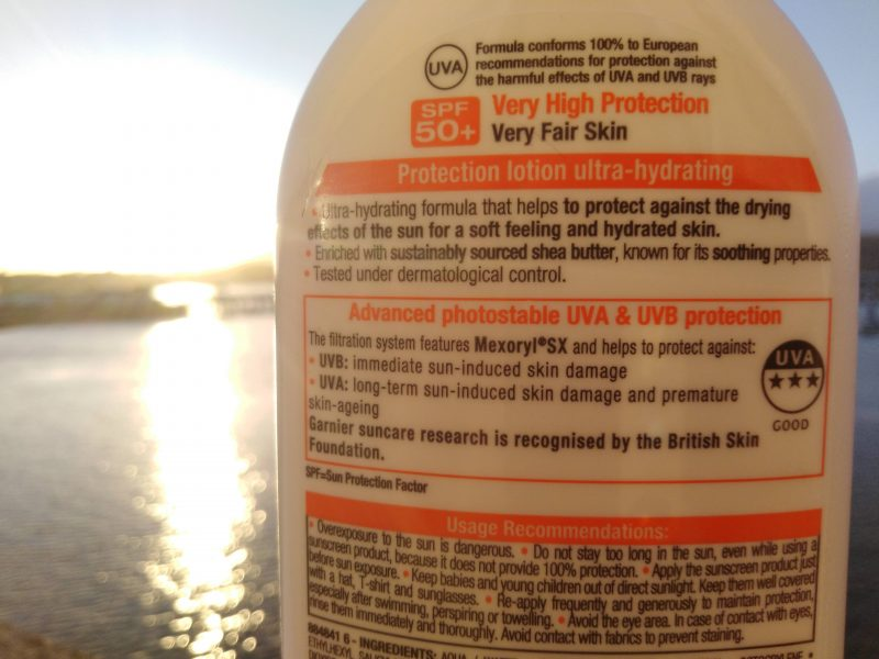 Best sunscreen for dry skin information on the back of bottle.