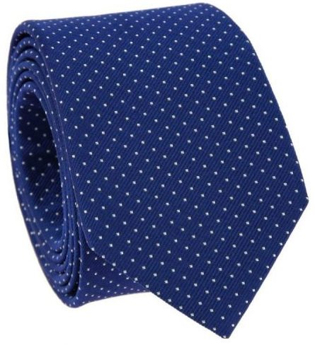 An electric blue pin dot tie.