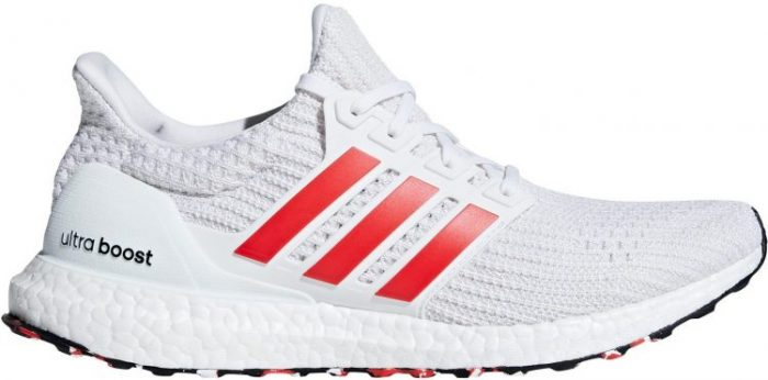 Adidas Ultra Boost in white with Orange Stripes. Last shoe in this list of best men's trainers.