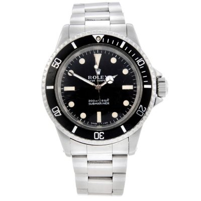 Rolex Submariner with a black face.