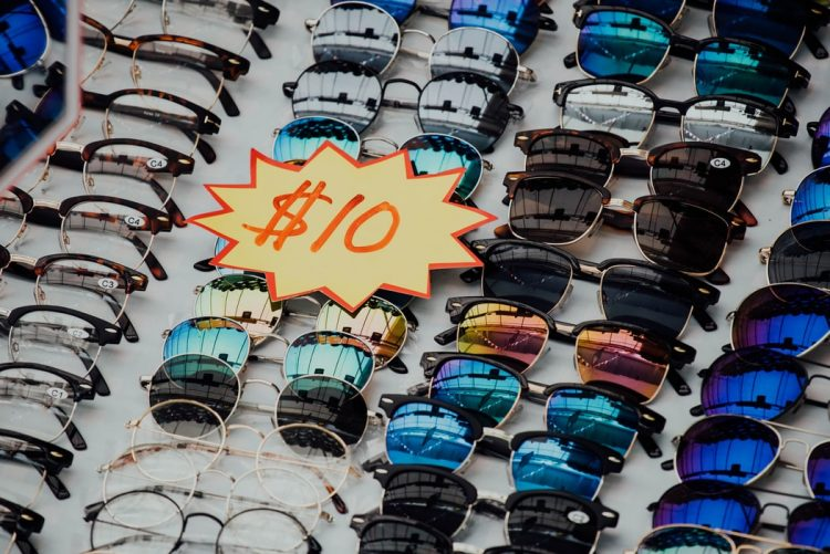 a table of sale sunglasses.