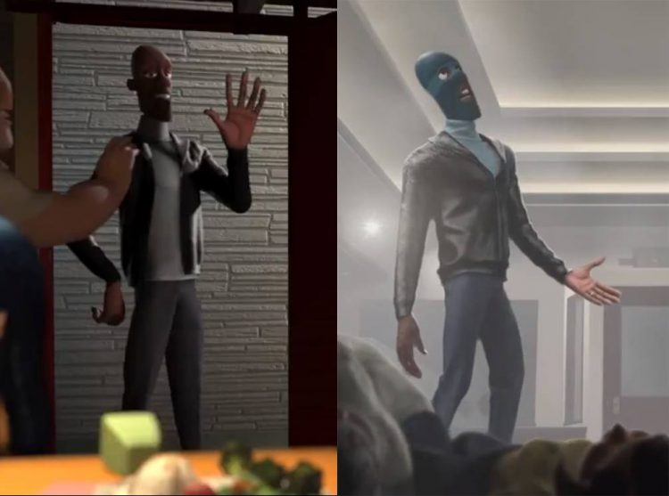 Frozone style reflected by black leather jackets and turtlenecks.