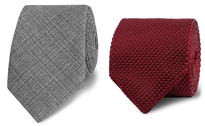 A grey textured wool tie, and a burgundy knitted tie guide.
