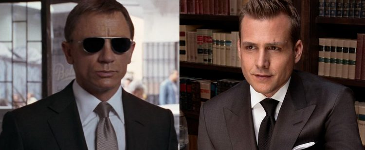 James Bond and Harvey Specter with tie dimples.