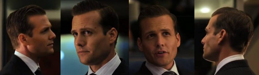 Multiple shots of Harvey's slick haircut.
