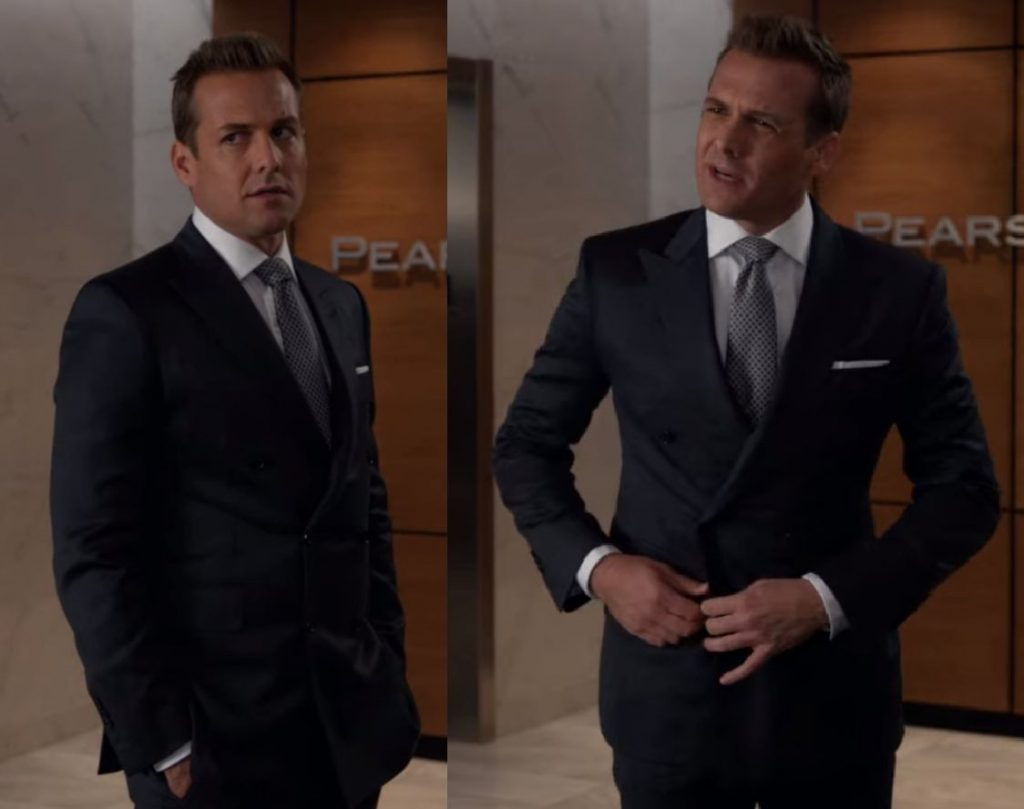 Gabriel Macht wearing a double breasted suit