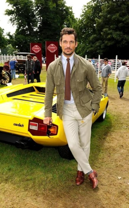 David Gandy showing what colours go with army green.