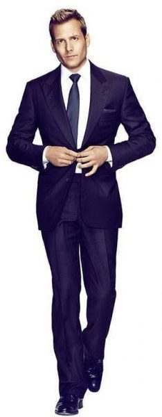 Full image of Harvey Specter's suit style.