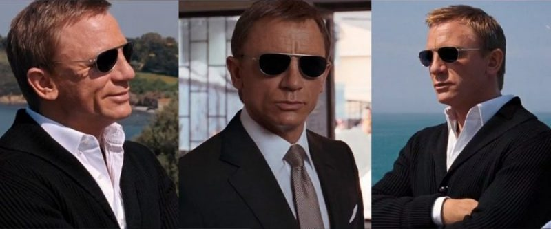 Different angles of James Bond's Quantum of Solace sunglasses.