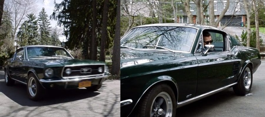 Harvey Specter in a Ford Mustang Fastback car