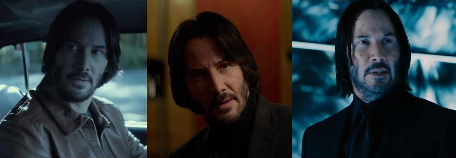 John Wick hair throughout the three films