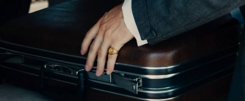 Napoleon Solo's signet ring and suit cuff.