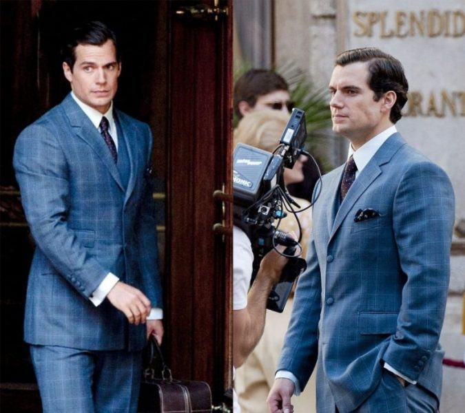 Henry Cavill in a blue windowpane suit