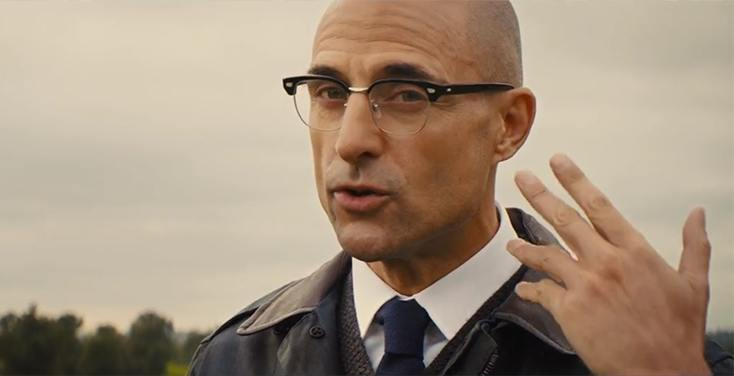 Mark Strong wearing browline glasses