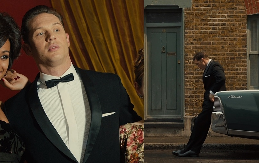 Tom Hardy as Reggie Kray in a tuxedo suit.