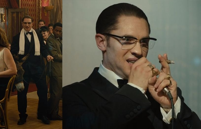 Tom Hardy as Ronnie Kray in a double breasted tuxedo.