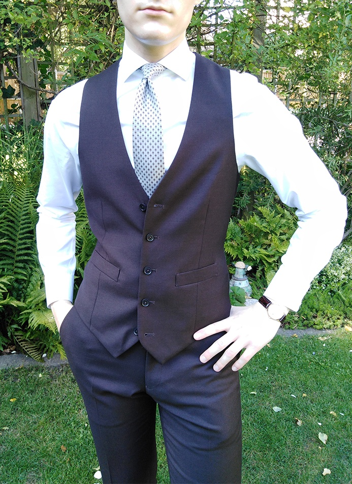 How to wear a vest with the top button unbuttoned