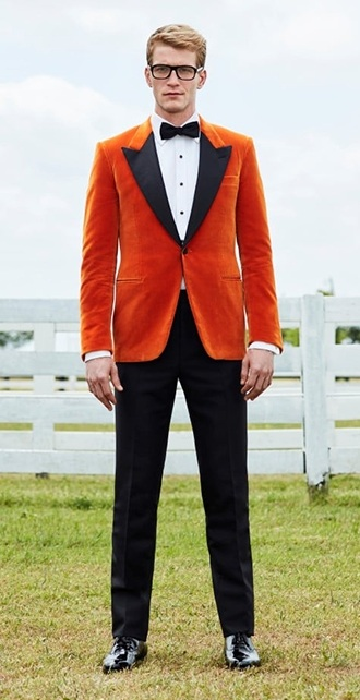 How to dress like a Kingsman Eggsy orange tuxedo jacket