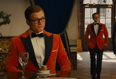 Wide shot of Eggsy's orange dinner jacket