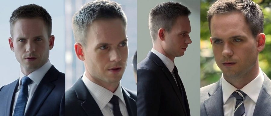 A collage of photos with Mike Ross with a crew hairstyle