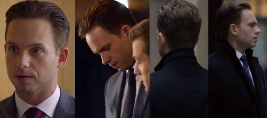 A collage of Mike Ross' slicked back haircut