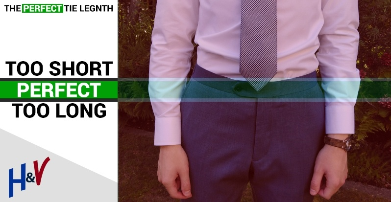 Tie guide length infographic showing you how to wear a tie