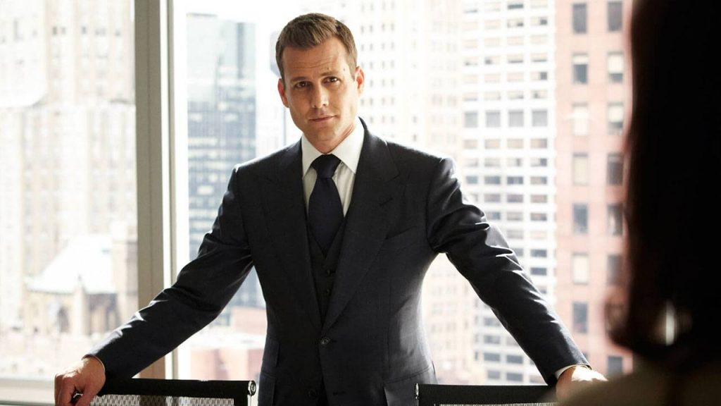 Gabriel Macht with a dominant open posture