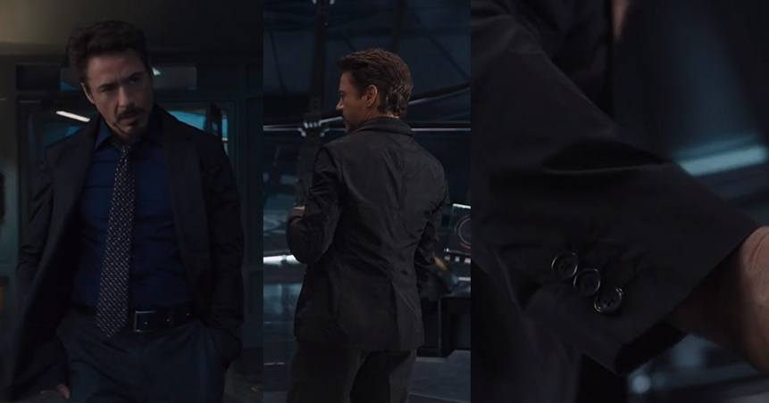 Iron Man wearing a field jacket and tie
