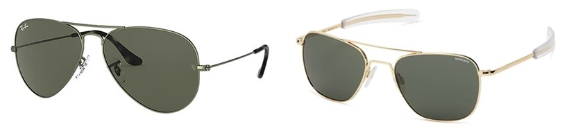 The two most common sunglasses that pilots wear