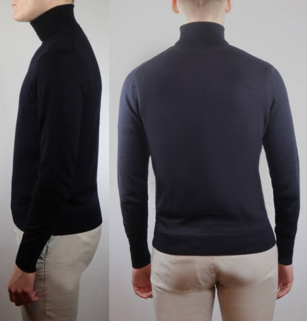 How should a turtleneck fit from the back and sides