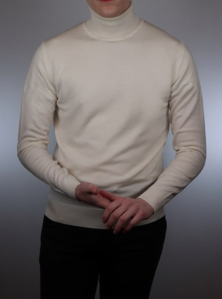 Ecru roll neck sweater