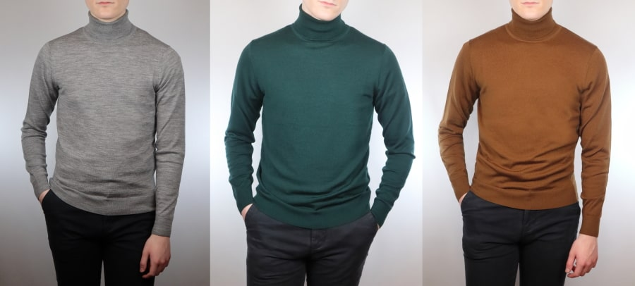 How to wear a turtleneck sweater in different colors