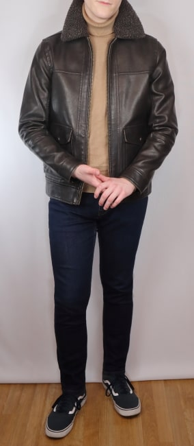 Aviator outfit with a camel skivvy and indigo jeans
