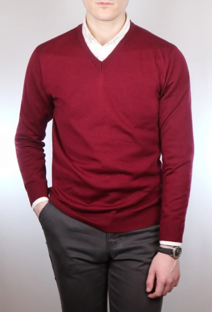 Red v neck jumper and white shirt combination