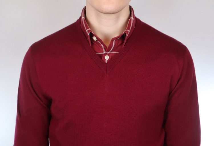 Monochrome red and red shirt and sweater color combination