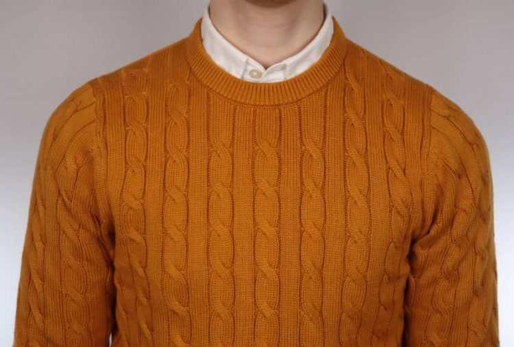 Yellow and white round neck jumper and shirt combo