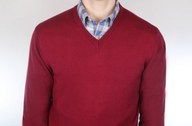 Sky gingham and red sweater and shirt outfit