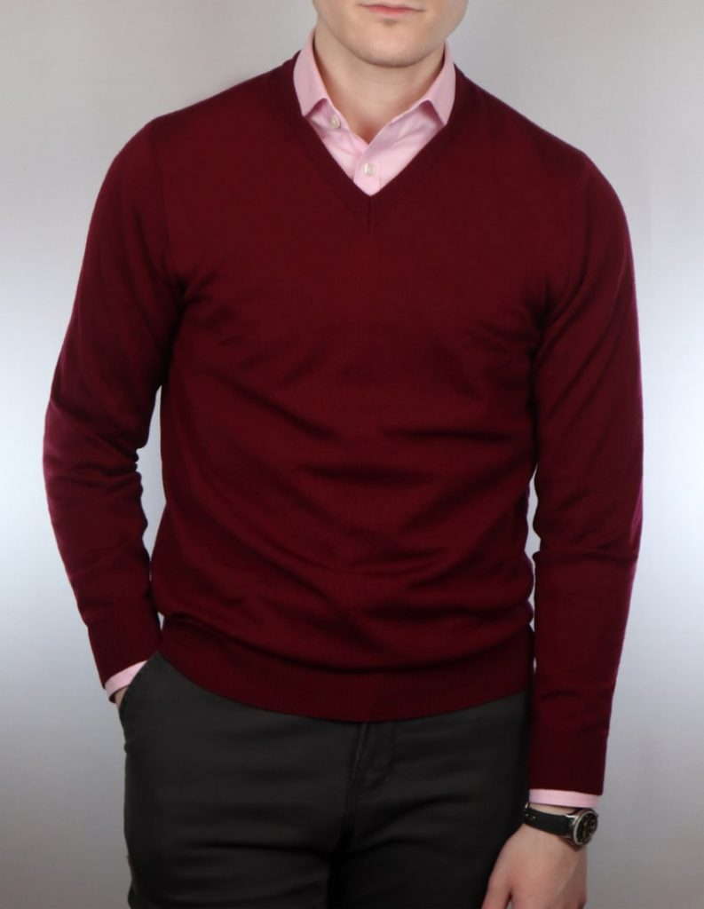 Pink shirt and red v neck sweater combination
