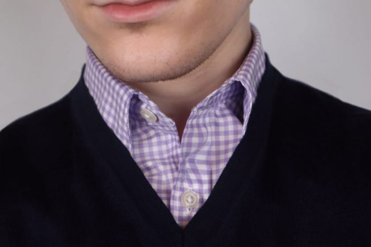 Gingham lilac shirt and navy v neck sweater outfit