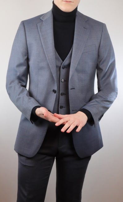 Turtleneck with a three piece suit and waistcoat