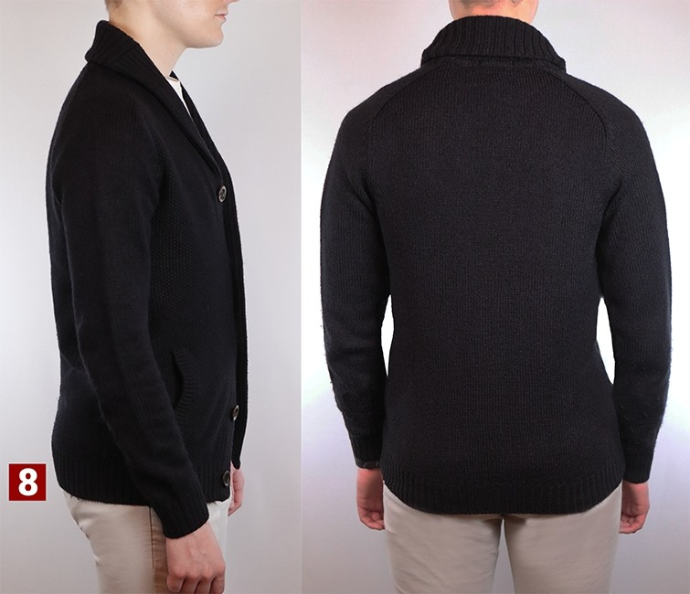 Side profile showing how your shawl collar cardigan should fit