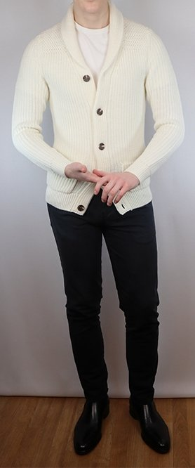 How to style a shawl cardigan with black Chelsea boots.