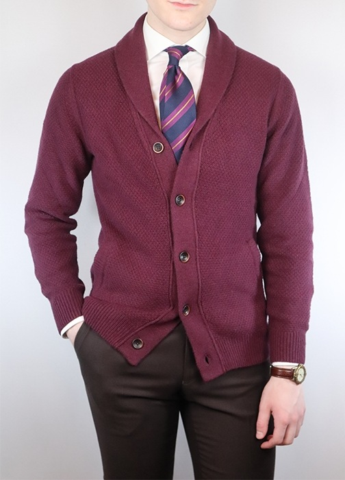 How to wear a shawl cardigan with a tie and suit trousers