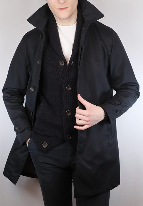 Man wearing a classy rain mac, with the shawl cardigan as a layering piece